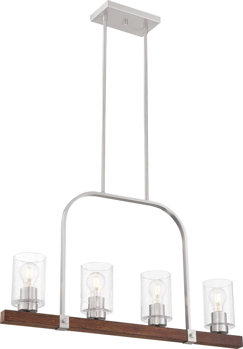 "32""W Arabel 4-Light Pendant Brushed Nickel / Nutmeg Wood"
