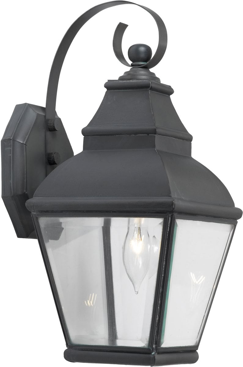 "15""H Bristol 1-Light Outdoor Wall Lantern Charcoal/Beveled Glass"
