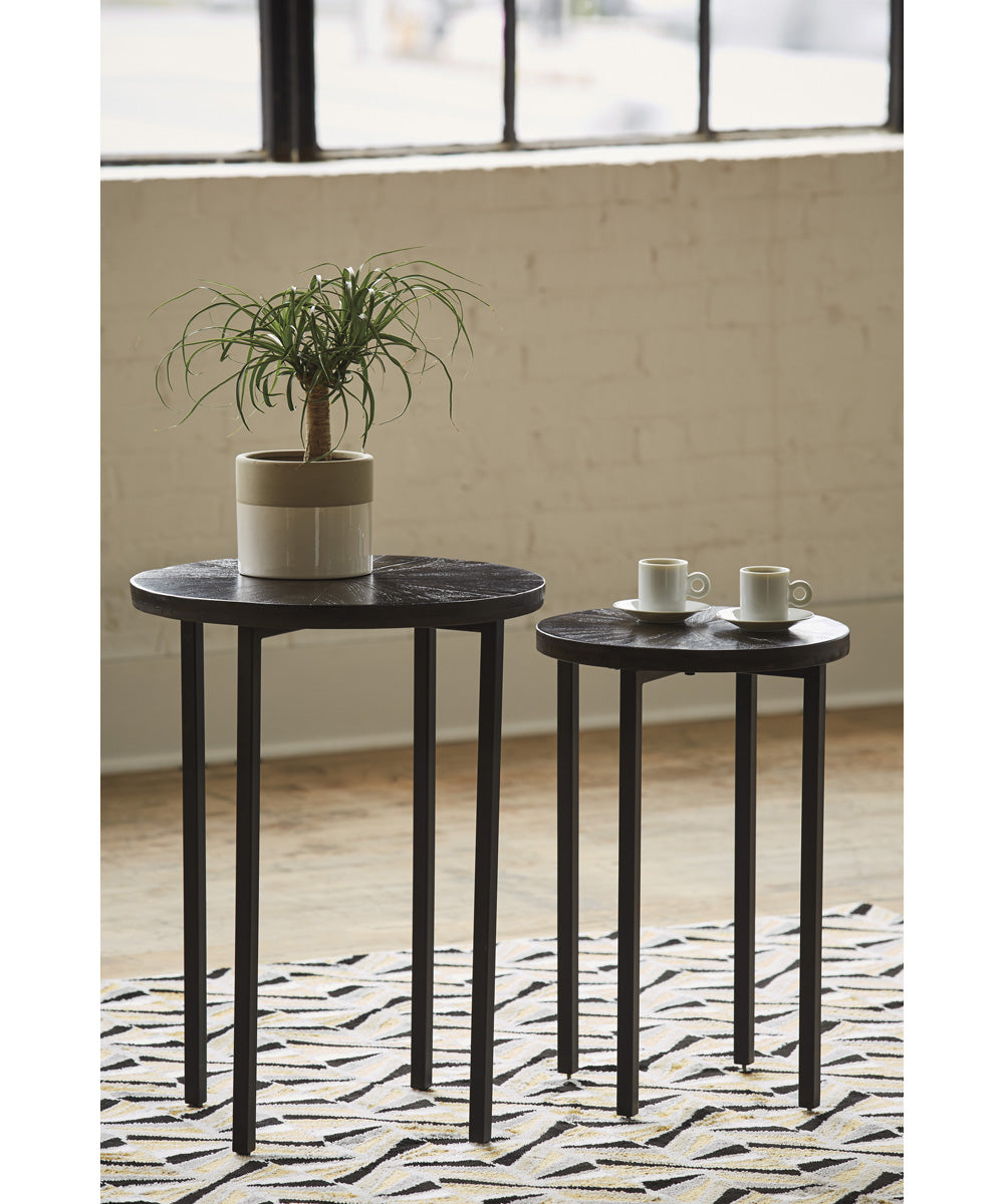 Esterdale Accent Table Set of 2 Brown/Black