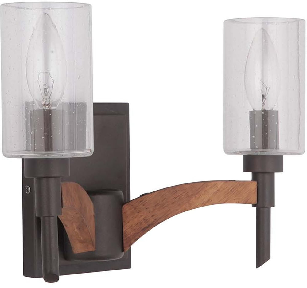 "12""w Tahoe 2-Light Bath Vanity Light Espresso/Whiskey Barrel"