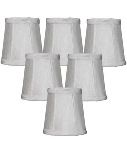 Set of 6 Gray Stretch Clip-On Candlelabra Clip-On Lamp shade 3x4x4