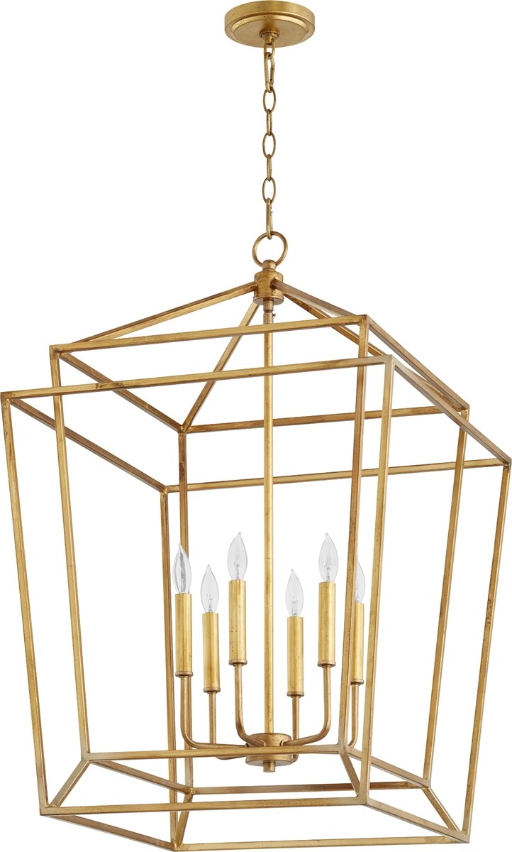 "21""W Monument 6-light Entry Foyer Hall Chandelier Gold Leaf"
