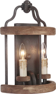 0-007105>Ashwood 2-Light Wall Sconce Textured Black/Whiskey Barrel