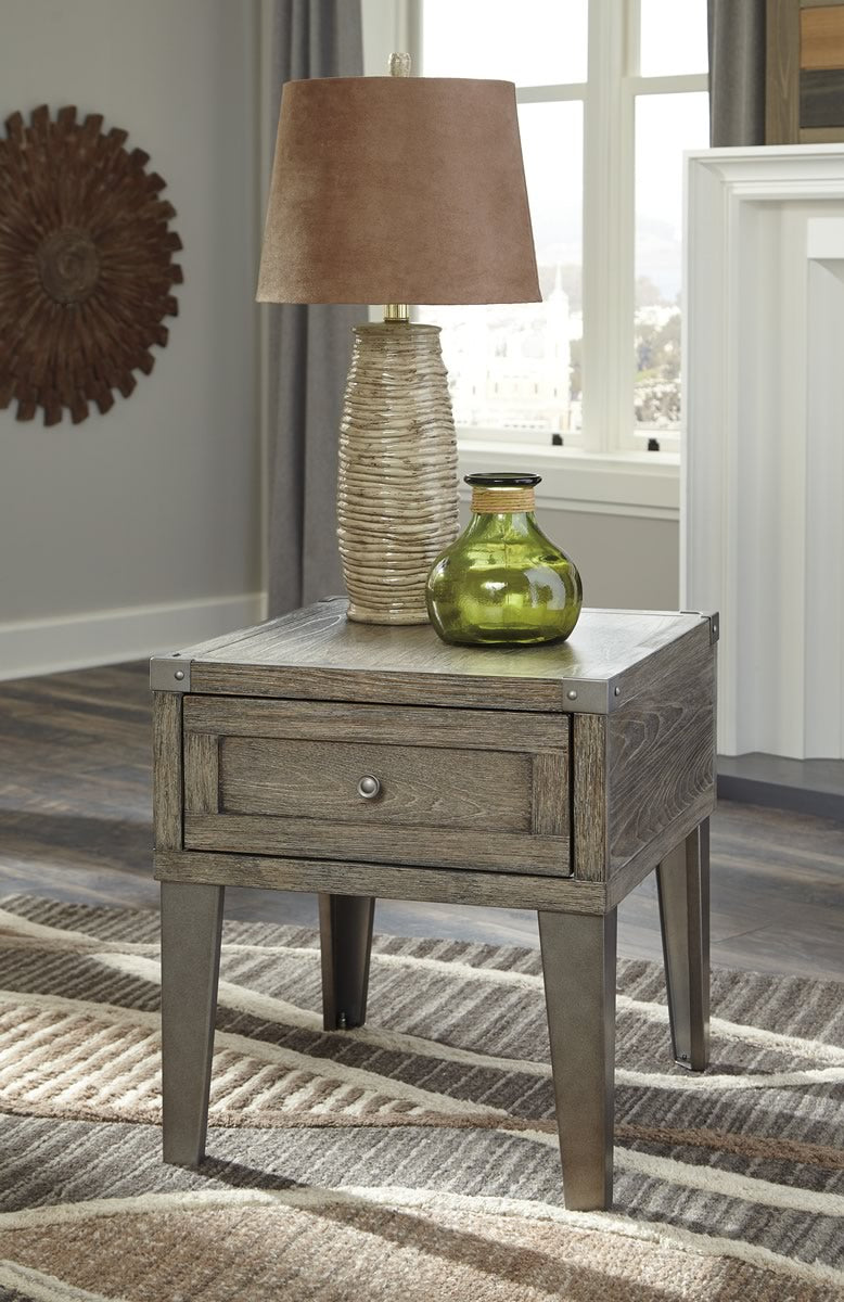 "24""H Chazney Rectangular End Table Rustic Brown"