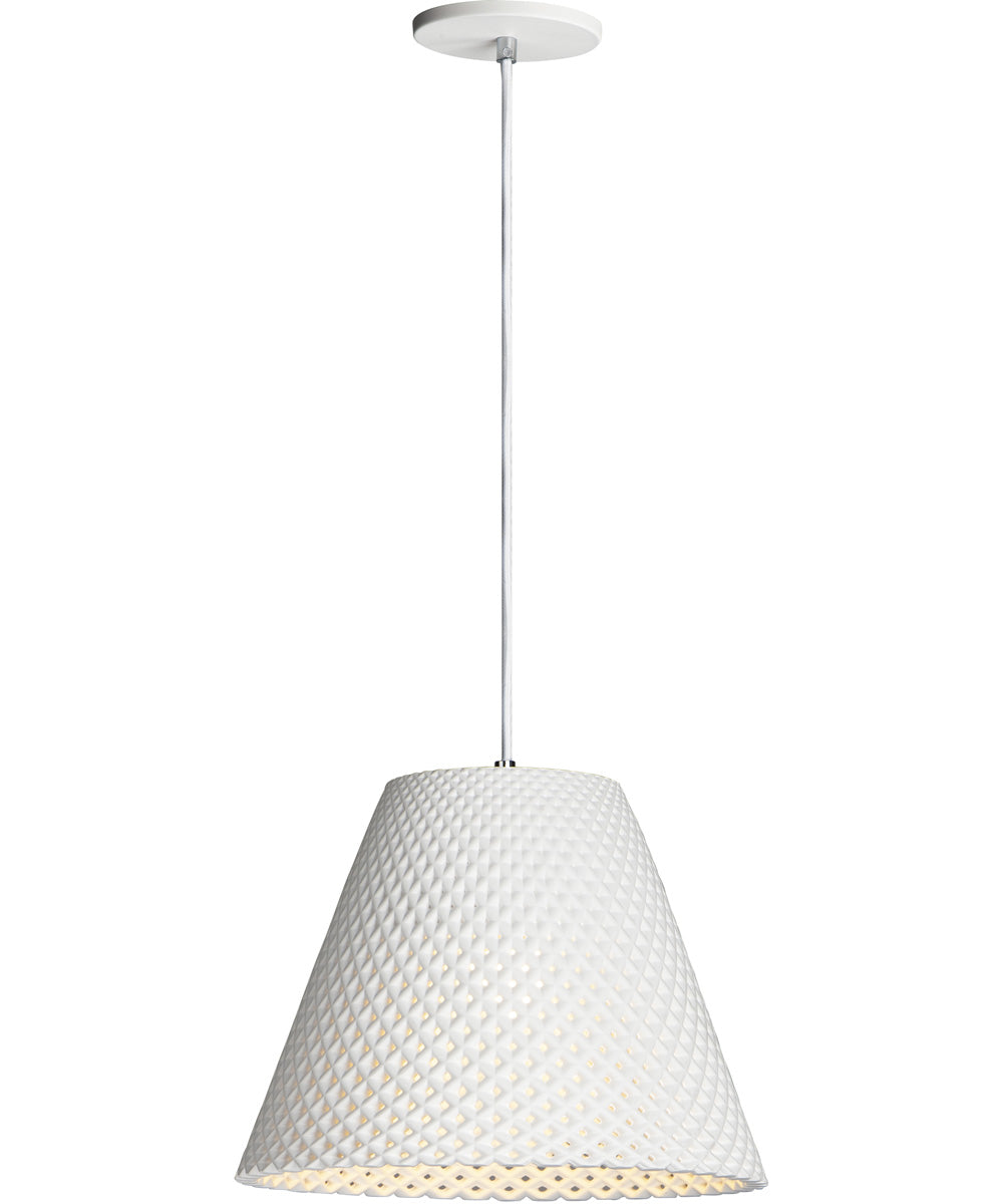 "15""W Woven 1-Light Pendant White"