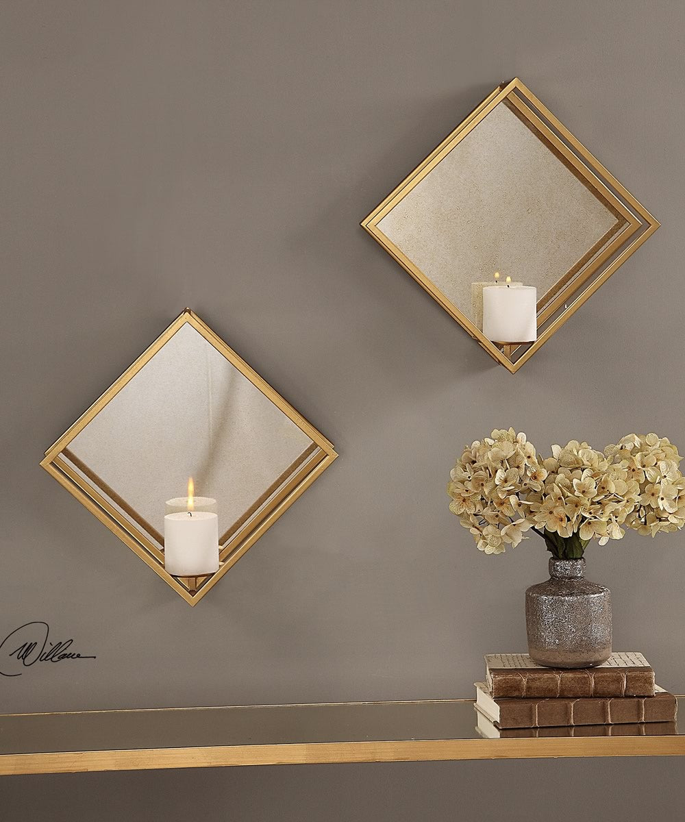 "16""H x 16""W Zulia Gold Candle Sconces Set of 2"