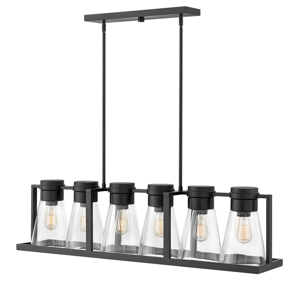 Refinery 6-Light Stem Hung Linear in Black with Clear