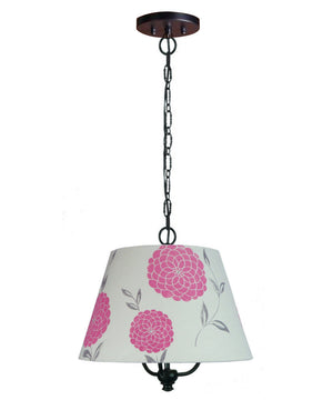 "16""W Three light pendant in antique black Finish with Pink Floral Barrel Shade"