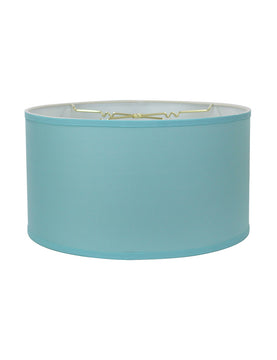 "18""W x 10""H Island Paradise Blue Low Profile Drum Lampshade"