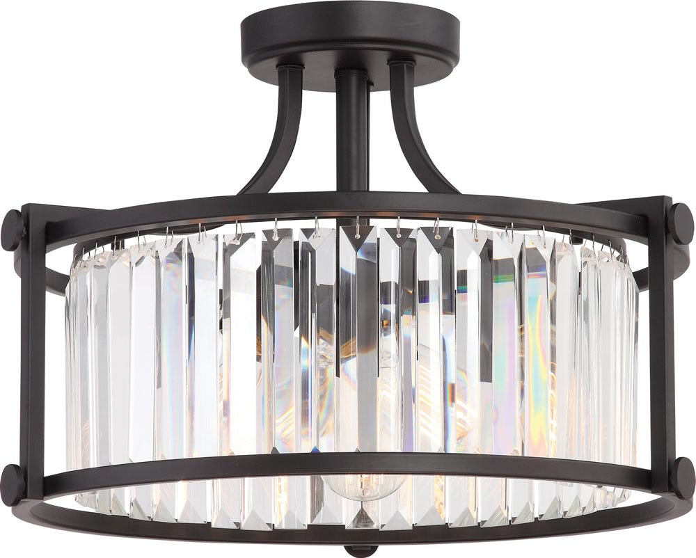 "18""W Krys 3-Light Close-to-Ceiling Aged Bronze"