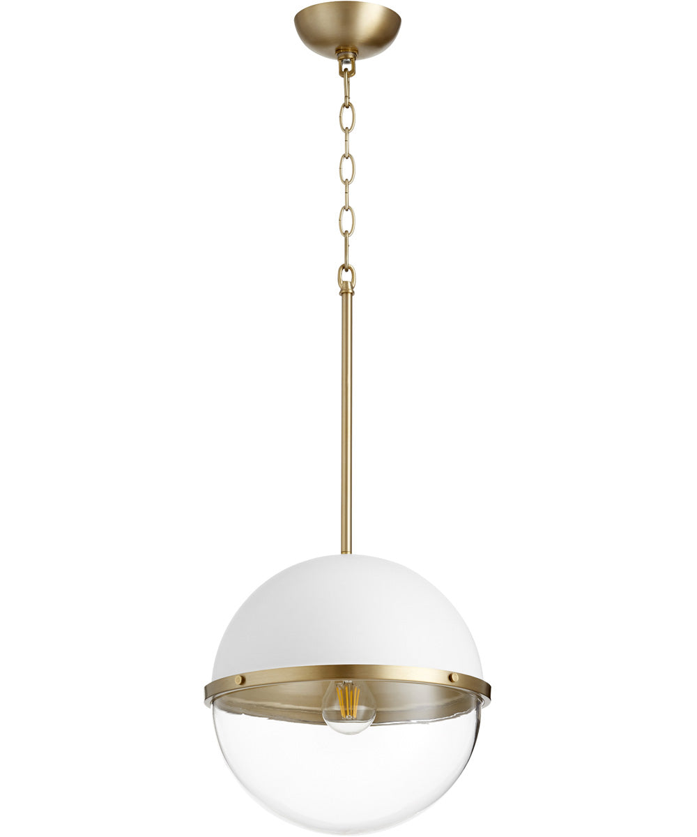 1-light Pendant Studio White w/ Aged Brass