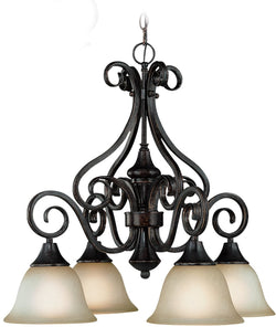 0-005095>Torrey 4-Light Down Chandelier Burnished Armor