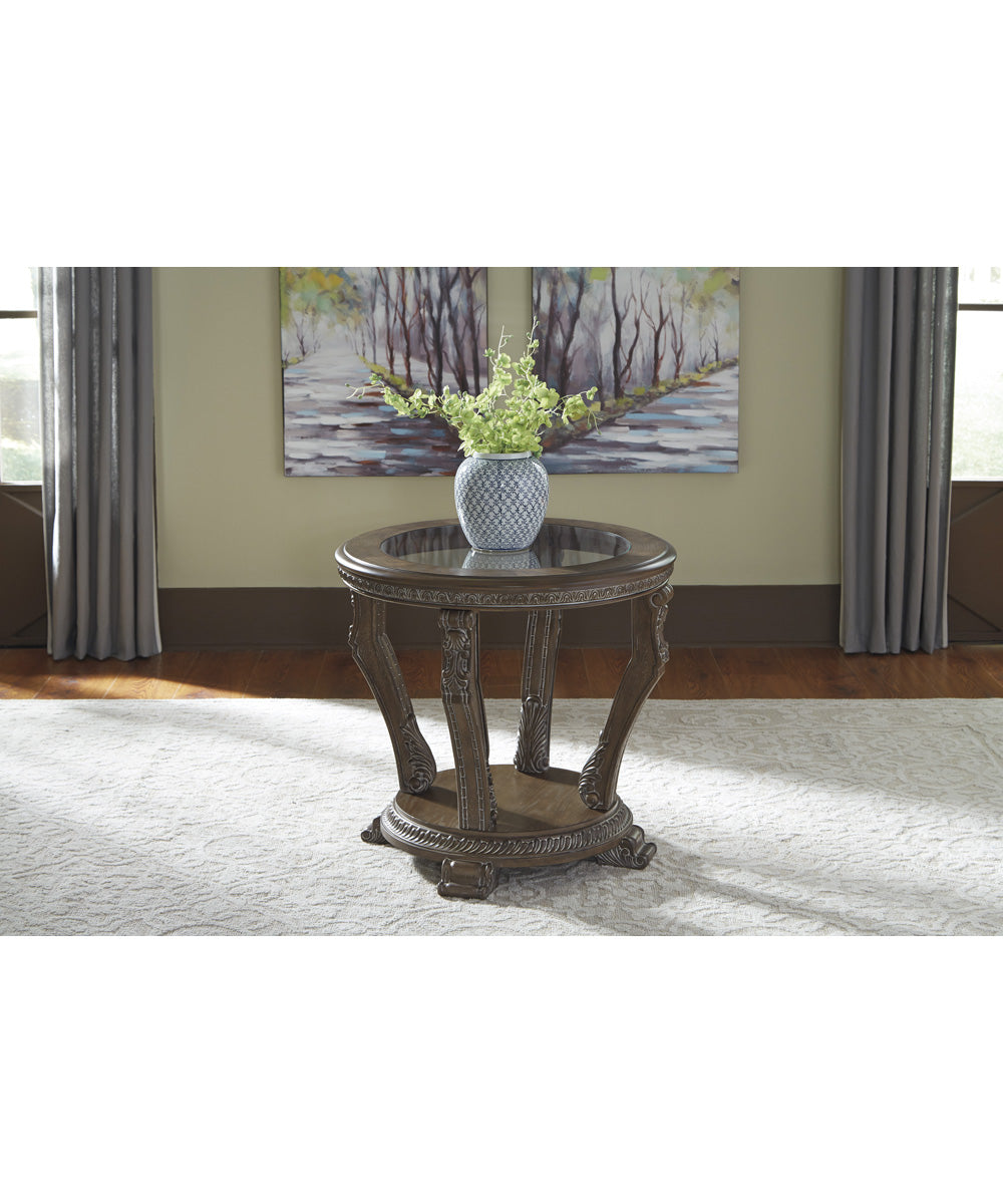 "26""H Charmond Round End Table Brown"