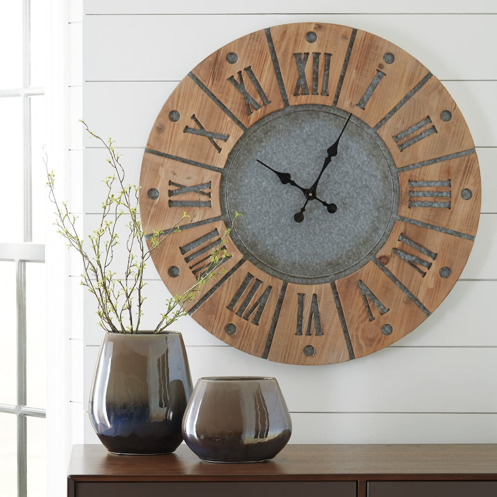 "31""H Payson Wall Clock Antique Gray/Natural"