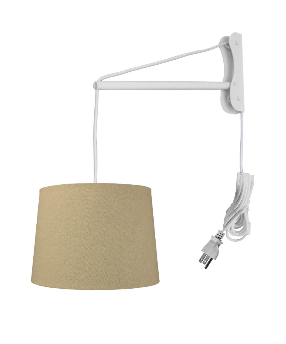 "14""W MAST Plug-In Wall Mount Pendant 1 Light White Cord/Arm Sand Linen Shade"