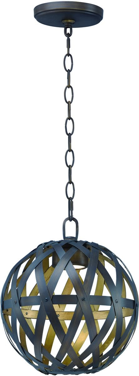 "12""W Weave LED 1-Light Pendant Bronze Gilt and Gold"