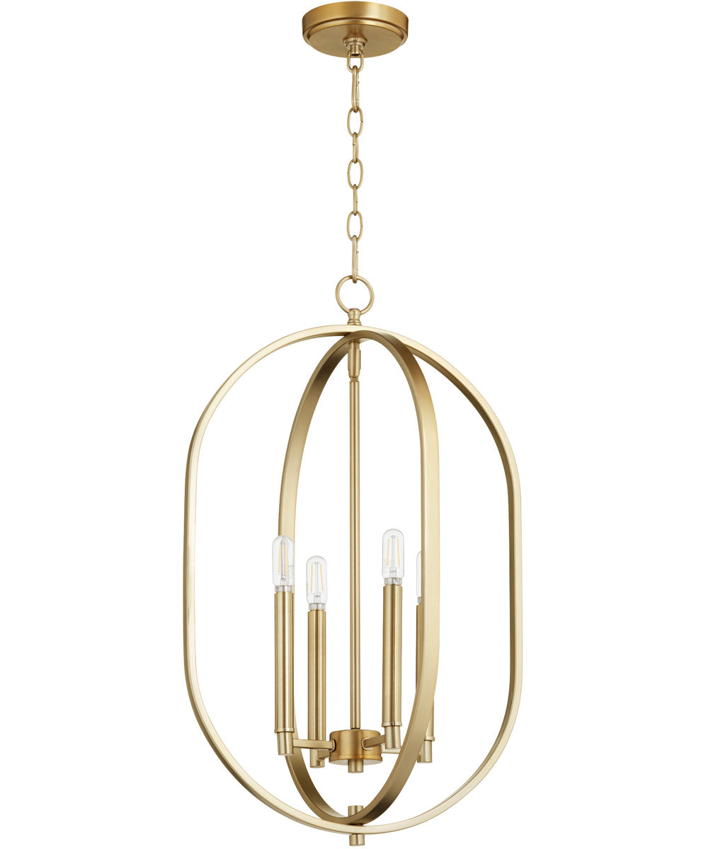 "16""W Collins 4-light Entry Foyer Hall Chandelier Aged Brass"
