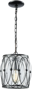 Elk Lighting Adriano 1-Light Pendant Gloss Black/Clear Blown Glass 145201