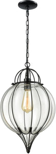 Elk Lighting Adriano 1-Light Pendant Gloss Black/Clear Blown Glass 145211