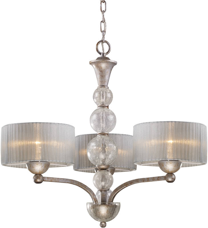 "25""w Alexis 3-Light Chandelier Antique Silver"