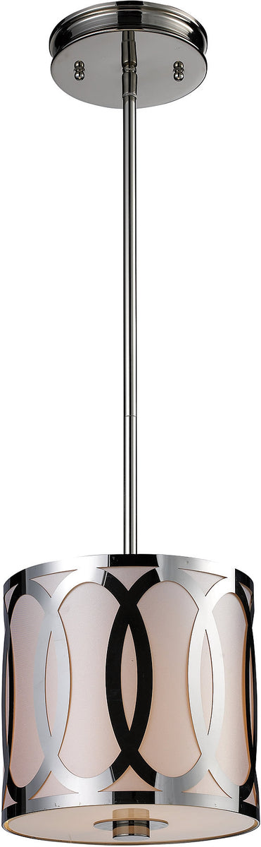 "8""w Anastasia 1-Light Pendant Polished Nickel"