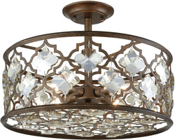Elk Lighting Armand 4-Light Semi Flush Weathered Bronze/Champagne Plated Crystal 310924