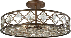 Elk Lighting Armand 8-Light Semi Flush Weathered Bronze/Champagne Plated Crystal 310938