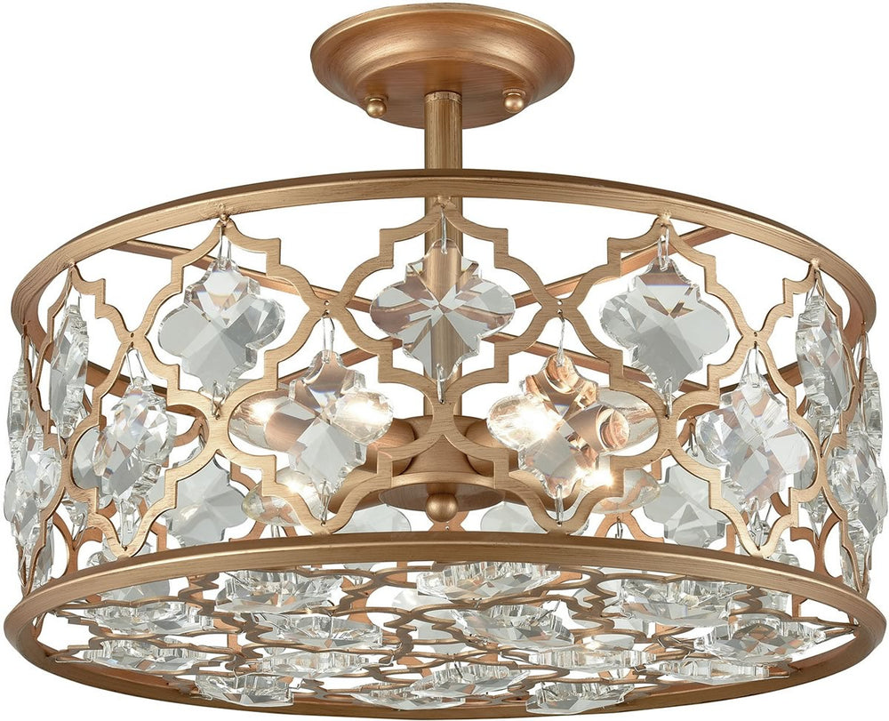"17""W Armand 4-Light Semi Flush Matte Gold/Clear Crystal"