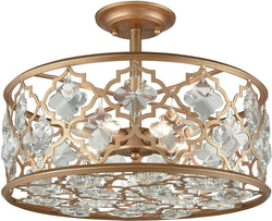 Elk Lighting Armand 4-Light Semi Flush Matte Gold/Clear Crystal 320924