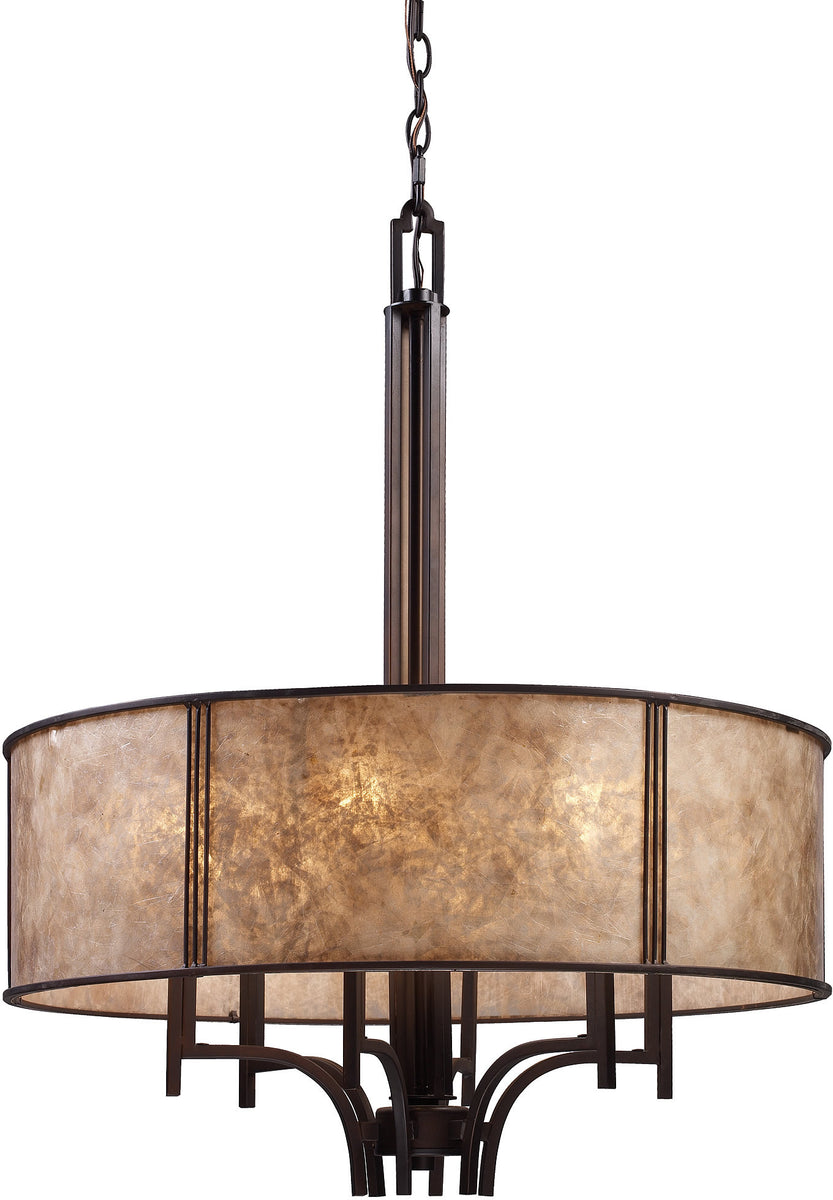 "24""w Barringer 6-Light Chandelier Aged Bronze with Beige Glass"