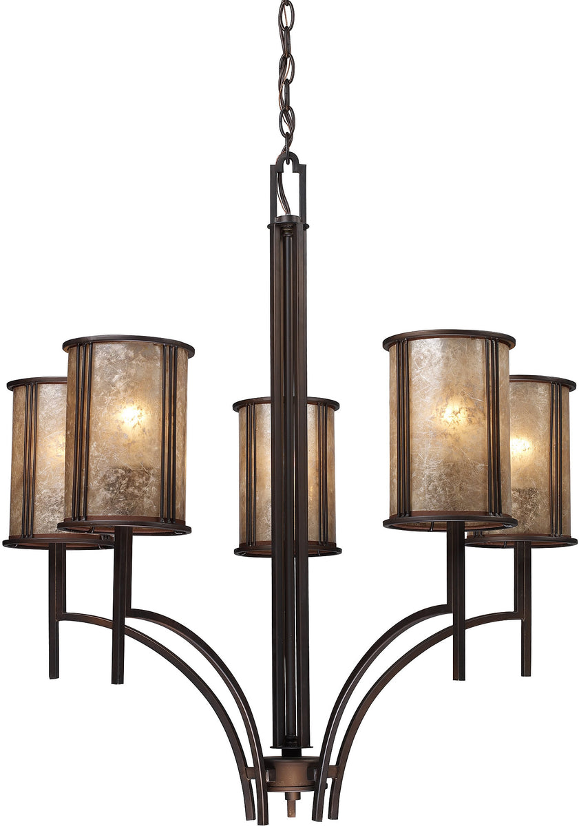 "29""w Barringer 5-Light Chandelier Aged Bronze with Translucent Glass"