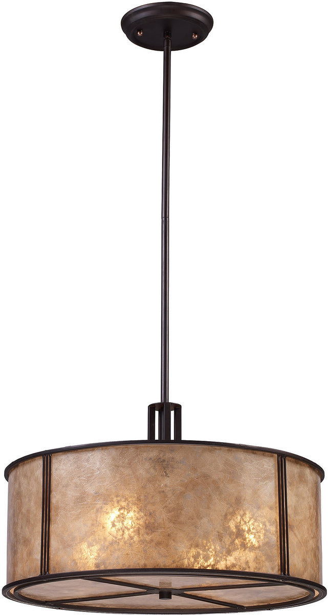 "19""W Barringer 4-Light Pendant Aged Bronze with Beige Glass"