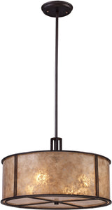 Elk Lighting Barringer 4-Light Pendant Aged Bronze with Beige Glass 150324