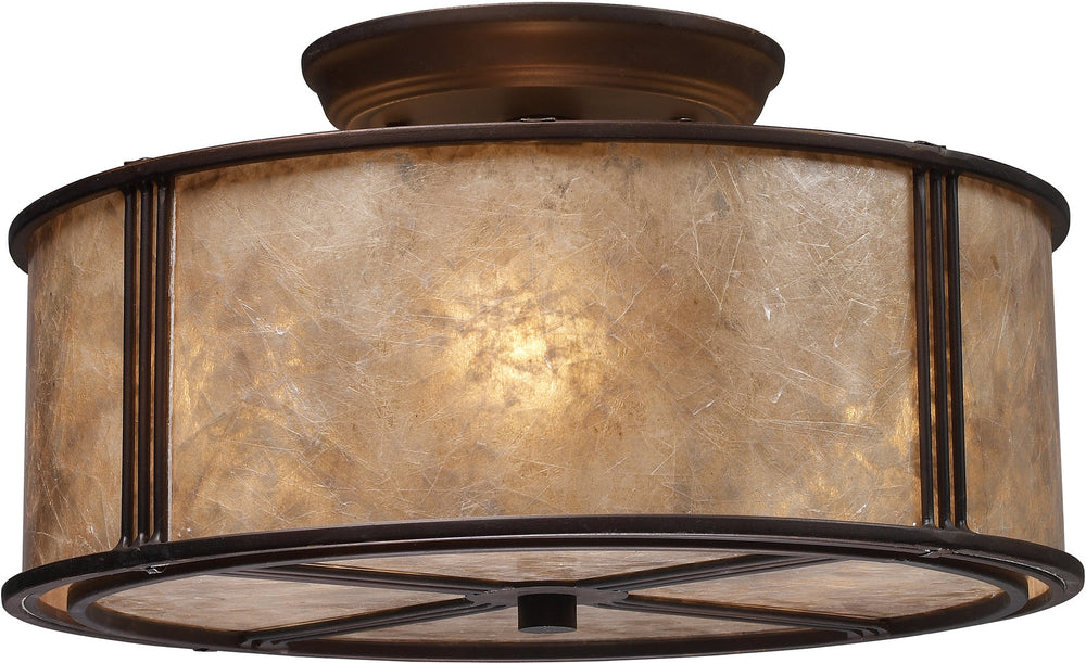 "13""w Barringer 3-Light Semi Flush Mount Aged Bronze with Brown Glass"