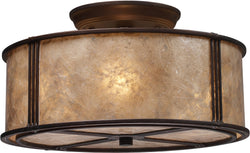 Elk Lighting Barringer 3-Light Semi Flush Mount Aged Bronze with Brown Glass 150313