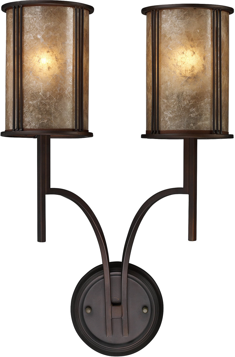 "14""W Barringer 2-Light Wall Sconce Aged Bronze with Translucent Glass"