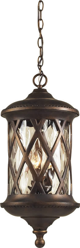 "10""W Barrington Gate 3-Light Outdoor Pendant Hazelnut Bronze/Water"