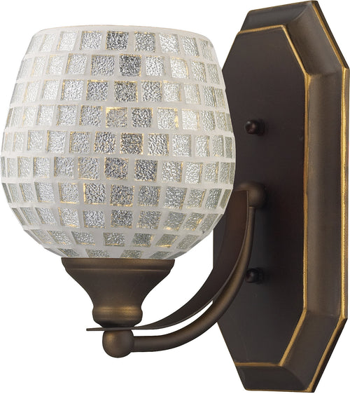 Elk Lighting 1-Light Bath Vanity Aged Bronze with Silver Mosaic Glass 5701BSLV