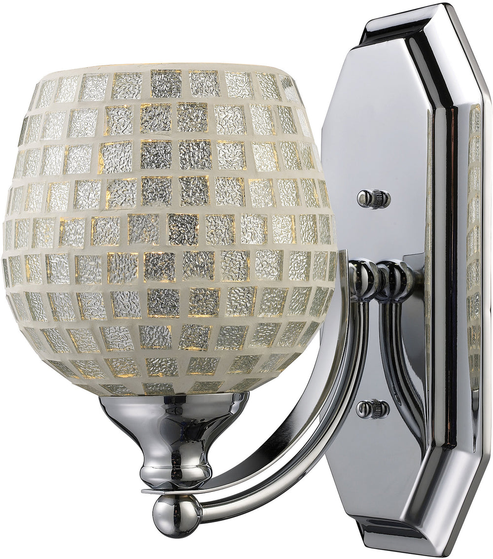 "5""w 1-Light Bath Vanity Polished Chrome with Silver Mosaic Glass"