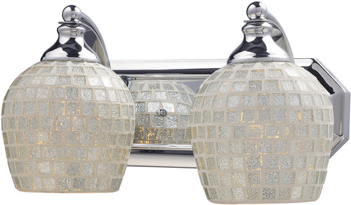 Elk Lighting 2-Light Bath Vanity Polished Chrome with Silver Mosaic Glass 5702CSLV