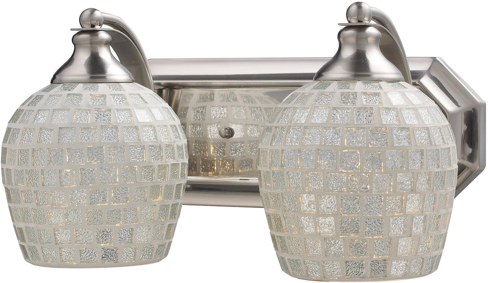 "14""w 2-Light Bath Vanity Satin Nickel with Silver Mosaic Glass"
