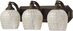 Elk Lighting 3-Light Bath Vanity Aged Bronze with Silver Mosaic Glass 5703BSLV