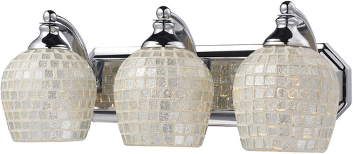 Elk Lighting 3-Light Bath Vanity Polished Chrome with Silver Mosaic Glass 5703CSLV