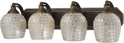 Elk Lighting 4-Light Bath Vanity Aged Bronze with Silver Mosaic Glass 5704BSLV