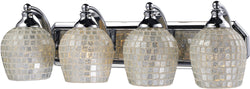 Elk Lighting 4-Light Bath Vanity Polished Chrome with Silver Mosaic Glass 5704CSLV