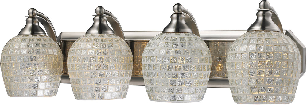 "27""w 4-Light Bath Vanity Satin Nickel with Silver Mosaic Glass"