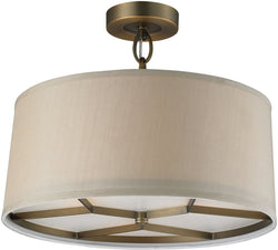 Elk Lighting Baxter 3-Light Semi Flush Mount Brushed Antique Brass 31262/3
