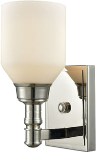 Baxter 1-Light Vanity Polished Nickel/Opal White Glass