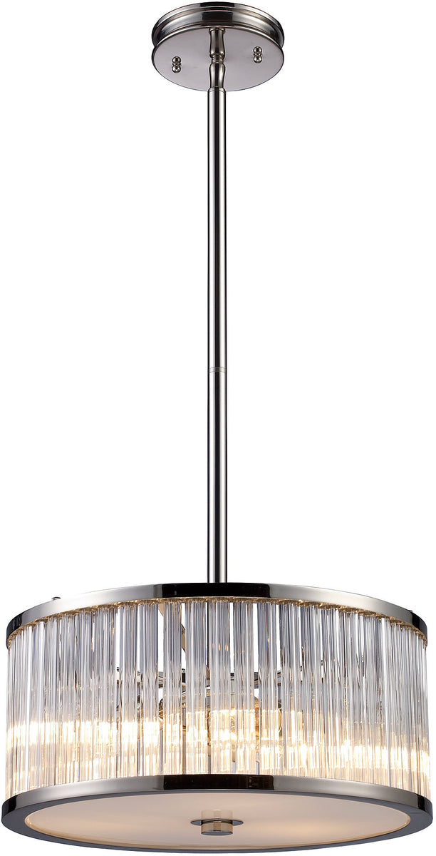 "16""w Braxton 3-Light Pendant Polished Nickel with Transparent Glass"