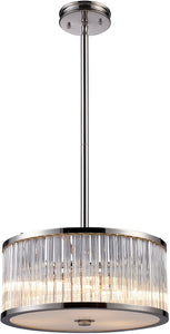 Elk Lighting Braxton 3-Light Pendant Polished Nickel with Transparent Glass 101283